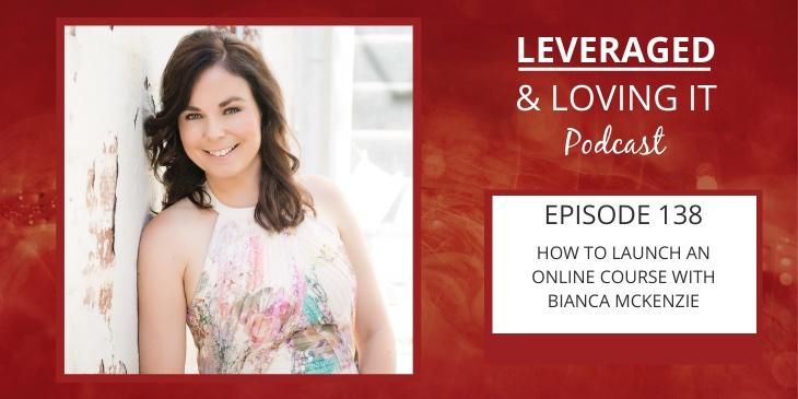 Bianca McKenzie has shoulder length brown hair, is leaning against a white wall and wearing a sleeveless white floral blouse. Next to her photo is the episode title and podcast name on a red fiery background.