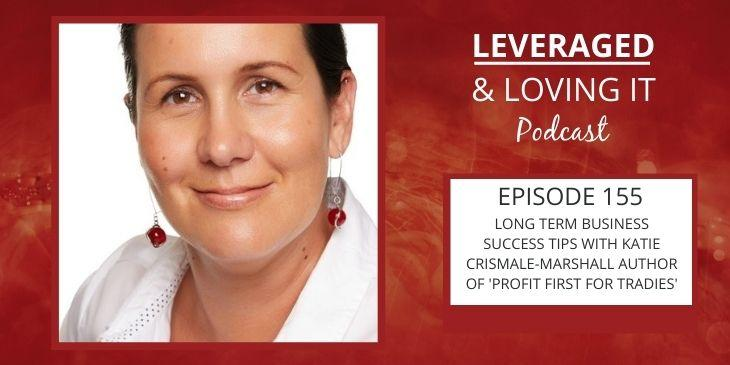 Leveraged and Loving It Episode 155 Katie Crismale Marshall a woman smiling closed lipped at the camera with red earrings and a white blouse