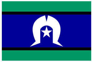 torres strait islander flag. Thin green bands at top and bottom. Large blue band in centre with a white symbol with a star in the middle.